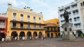 活动在Plaza de los Coches在卡塔赫钠的历史中心 免版税库存照片