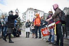 活动家把俄国使馆栓在 库存照片
