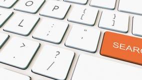 移动式摄影车射击了白色键盘和橙色检索关键字 概念性4K夹子 皇族释放例证