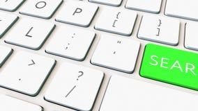 移动式摄影车射击了键盘和绿色检索关键字 概念性4K夹子 库存例证