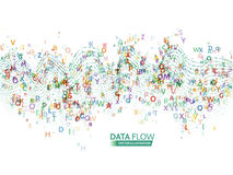 动态波浪技术概念 与信件代码的抽象数据流背景 免版税库存照片