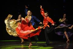 动态颜色裙子这奥地利的世界舞蹈 免版税库存照片