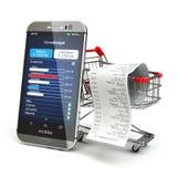 活动房屋预算应用概念 有购物的智能手机 免版税库存照片