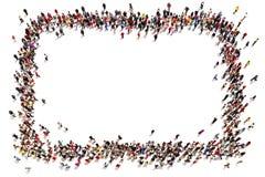 移动朝中间的人大人群形成正方形 免版税图库摄影