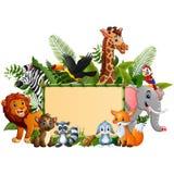 动物与空白的标志竹子的森林动画片 库存例证