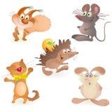 动物五滑稽的hedgeho鼠标兔子集 皇族释放例证