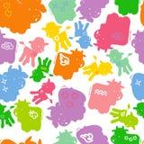 动物五颜六色的剪影 库存图片