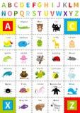 动物动物园字母表海报 与眼睛的信件 逗人喜爱的动画片字符集 查出 白色背景平的设计 小孩子e 库存图片