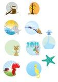 动物动画片系列 免版税库存照片
