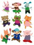 动物动画片跳舞 库存图片