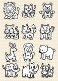 动物动画片逗人喜爱的图标 免版税库存图片