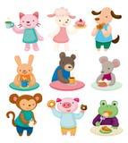 动物动画片集合茶时间 免版税库存图片
