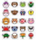 动物动画片头贴纸集合 库存例证