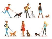 动物友谊 走与滑稽的狗的愉快的人民 在动画片样式的例证 向量例证