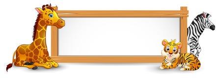 动物和空白的标志木头 向量例证