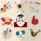 动物和鸟圣诞节小雕象  库存照片