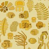 动物和pl的无缝的部族风格化样式 库存照片