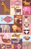动物园动物传染媒介拼贴画 免版税图库摄影