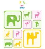 动物园商标。 与动物的商标和象。 库存图片