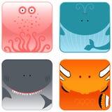 动物图标海洋集 免版税库存照片