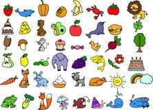 动物图标被设置的向量 免版税库存图片