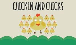 动物图象传染媒介鸡和小鸡 图库摄影