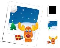 动物圣诞节驯鹿场面 向量例证