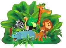 动物在热带密林 向量例证