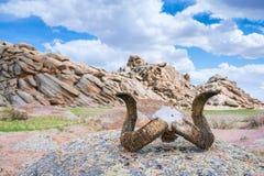动物垫铁在岩石的 库存图片