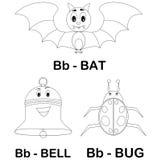 动物字母表B着色页 免版税库存图片