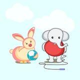 动物字符逗人喜爱的动画片  库存例证