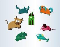动物收集逗人喜爱的农厂宠物七 免版税图库摄影