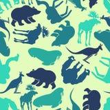 动物无缝的样式 动物园背景 野生动物纹理 皇族释放例证