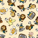 动物模式无缝的足球 免版税图库摄影