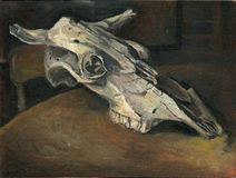 动物油绘画头骨 库存图片