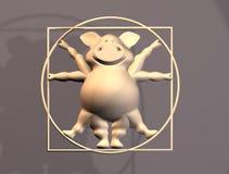 动物猪成比例vitruvius 免版税库存图片