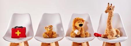 动物玩具在医院的候诊室 免版税库存图片