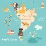 动物界地图, Sorth美国 库存例证