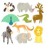 动物的传染媒介例证 动物园逗人喜爱的动物 免版税库存图片