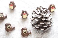 以动物的形式巧克力糖 库存图片