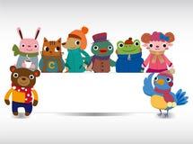 动物看板卡动画片冬天 免版税库存照片