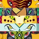 动物眼睛 大象,水牛,狮子,豹子,犀牛 也corel凹道例证向量 免版税库存照片
