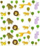 动物背景明亮的彩色插图集合向量 图库摄影