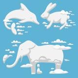 动物覆盖剪影样式传染媒介例证摘要天空动画片环境自然wilding的野兽装饰品 免版税库存照片