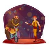 动物训练师,熊骑马自行车 马戏展示 皇族释放例证