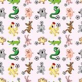 动物足球无缝的模式 免版税库存照片