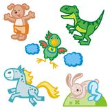 动物逗人喜爱的图标 免版税库存照片