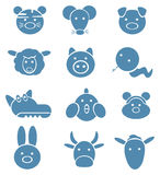 动物逗人喜爱的滑稽的占星图标 免版税库存照片