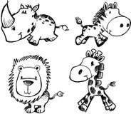 动物集合草图向量 免版税库存照片