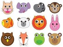 动物面孔动画片集合 免版税库存图片